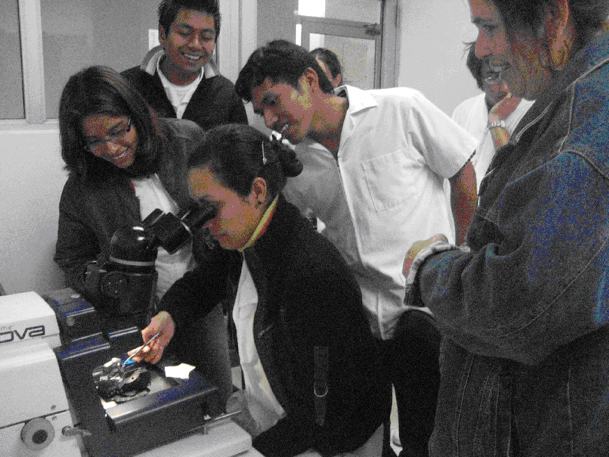 Students practicing their technique with the ultramicrometer