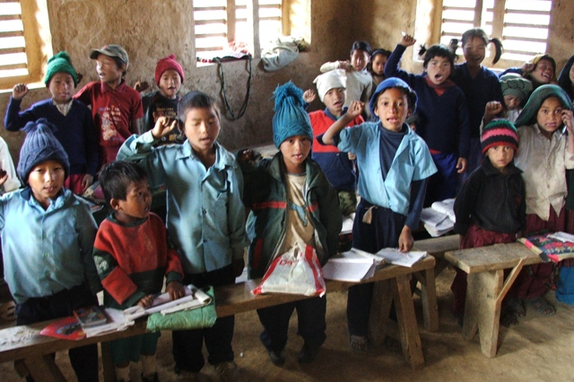 Children in post-Civil War Nepal singing revoutionary songs